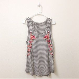 American Eagle Striped Tank With Floral Pattern M